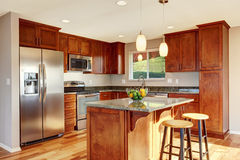 Spacious kitchen room with bar, stainless steel appliances and pendant lights. Stock Photography