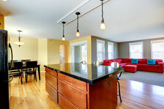 Spacious kitchen room with dining area Stock Photography