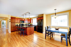 Spacious kitchen room with dining area Royalty Free Stock Images