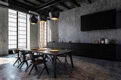Free Spacious Kitchen With Dining Room In Loft Flat Stock Photos - 99634033
