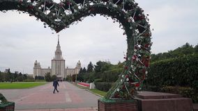 Spacious landscaped area in front of the main building of the Moscow State University. Russia. Landscaping of the extensive territory of Moscow state University stock video