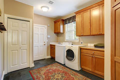 Spacious laundry room inteiror Stock Photos