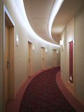 Spacious light hotel corridor in modern style Stock Images