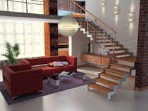 Spacious Living Room. 3d Render Interior Royalty Free Stock Photography