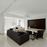 The spacious living room Stock Images