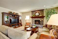 Spacious living room with fireplace, carpet floor and rug Royalty Free Stock Photo