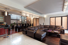 Spacious living room in a luxury house Stock Photo