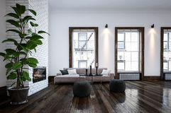 Spacious living room with plant Stock Photo