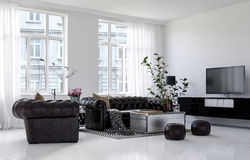 Spacious living room with white walls Royalty Free Stock Photography