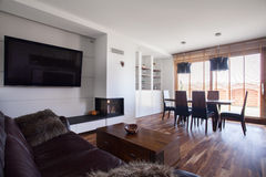 Spacious lounge and dining area Royalty Free Stock Image