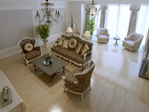 Spacious lounge with fireplace and violoncello. 3D render Stock Photography