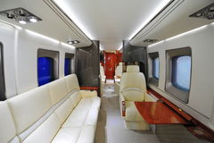 Spacious and luxurious interior of Sikorsky H-92 helicopter on display at Singapore Airshow royalty free stock image
