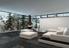 Spacious luxury living room interior in winter Stock Photo