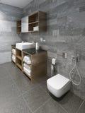 Spacious minimalist bathroom design Stock Images