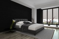 Spacious Modern Architectural Bedroom Design Stock Image