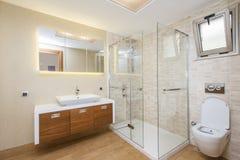 Spacious Modern Bathroom. Wide angle photo of a spacious modern bathroom Royalty Free Stock Images