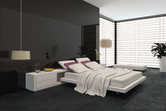 Spacious modern bedroom Stock Photo