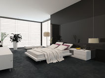 Spacious modern bedroom Royalty Free Stock Images