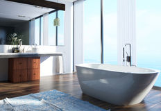 Spacious Modern Home Bathroom Interior Design Stock Image