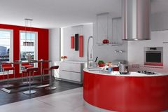 Spacious modern kitchen Royalty Free Stock Photography