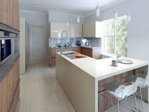 Spacious modern kitchen design Stock Image
