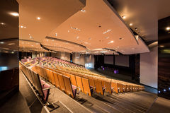 Spacious modern lecture theater. Spacious modern lecture hall theater with lighting on dropped ceiling and seats Royalty Free Stock Images