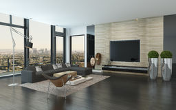 Spacious modern living room overlooking the city Royalty Free Stock Image