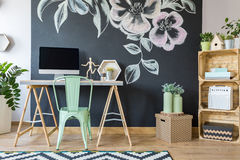 Spacious modern study home office. Spacious modern designed home office with decorated black board royalty free stock photos