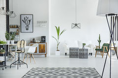 Spacious multifunctional room. White and spacious multifunctional room stock photos
