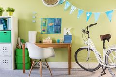 Spacious new design teenager room Royalty Free Stock Images