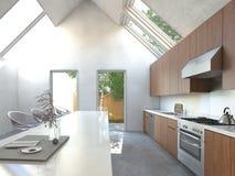 Spacious open-plan kitchen with a bar counter Royalty Free Stock Photos
