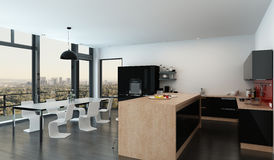 Spacious open-plan kitchen dining room interior Stock Photo
