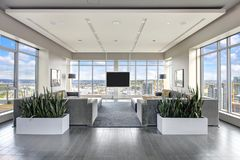 Free Spacious Resident Lounge Overlooking The City Stock Images - 121156654