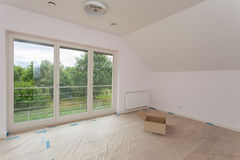 Spacious room being renovated Stock Photo