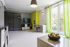 Spacious room with patio entry Stock Photography