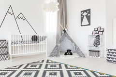 Spacious room with tipi. Spacious baby room with a tipi in the middle Royalty Free Stock Photography