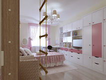 Spacious teenager bedroom design Royalty Free Stock Images