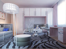 Spacious teenager bedroom design Royalty Free Stock Image