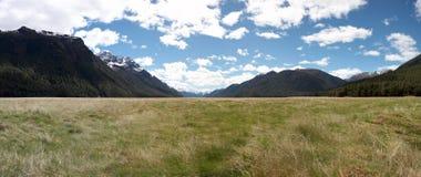 Spacious Valley. Eglington Valley, South Island, New Zealand Stock Photo
