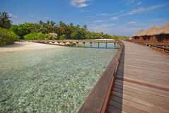 Spacious Wooden Walkway connecting Overwater Bungalow and Island Royalty Free Stock Photos