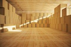 Spacious wooden warehouse Stock Photo
