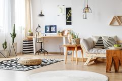 Spacious work zone with rugs. Apple in bowl on designer wooden table in spacious work zone with rugs on floor and cacti royalty free stock photos