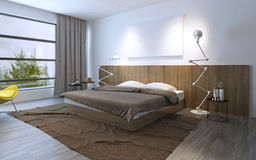 Spacy bedroom with double bed Royalty Free Stock Photos