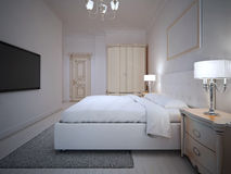 Spacy hotel room interior. With wall mounted TV. 3D render Stock Image