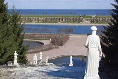 Spadać kaskadą fontannę w Peterhof Obrazy Royalty Free