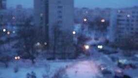 Spada śnieg w mieście zbiory
