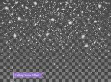 Spada śnieg, przypadkowi elementy Nowy rok, Bożenarodzeniowa wystrój narzuta Wektorowa ilustracja na Odosobnionym Przejrzystym tl ilustracji