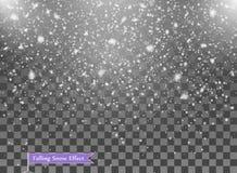 Spada śnieg, przypadkowi elementy Nowy rok, Bożenarodzeniowa wystrój narzuta Wektorowa ilustracja na Odosobnionym Przejrzystym tl ilustracja wektor