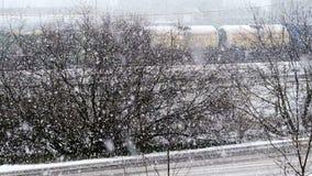 Spada śnieg w zima parku z śniegiem zakrywał drzewa, zwolnione tempo zbiory wideo