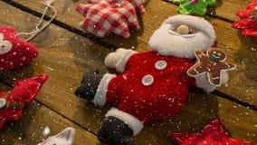 Spada śnieg z Bożenarodzeniową Santa dekoracją ilustracji